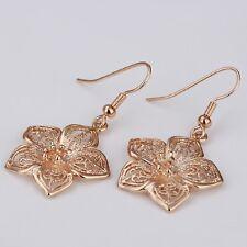 Flower 18k Rose Gold Plated Piercing Earring Crystal Stud Eardrop Dangle Jewelry