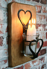 Handmade WALL CANDLE SCONCE Cast Iron Holder- Thick Wood Vintage Antiqued Rustic