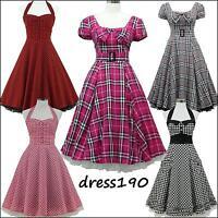 dress190 KARIERTEN 50er 60er ROCKABILLY PARTY KLEID VINTAGE SWING Größe EU 36-54