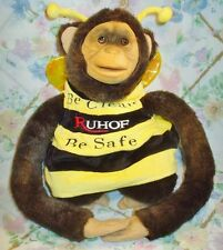 "RUHOF BE CLEAN BE SAFE PLUSH STUFFED 16"" CHIMPANZEE FULL BODY PUPPET IN BEE SUIT"