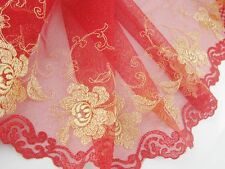 """7""""*1yard delicate Golden embroidered flower on Red tulle lace trim for DIY 0296"""