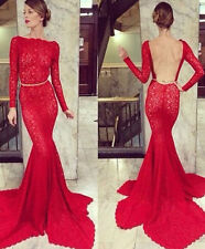 Red Backless Mermaid Formal Evening Dress for Party Lace Long Sleeves Prom Gown