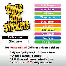 100 Personalised Childrens Name Stickers  Labels Lunch boxes - School - tags pen