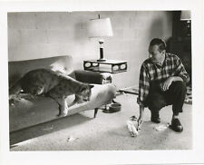 Real Tiger with Man on Couch at Home * Real Photo 1950s UNUSUAL Pet  RARE 4