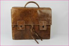 VINTAGE Cartable Cuir Marron 3 soufflets TBE