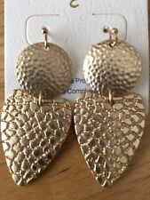 Circle and Triangle Gold Tone Drop Dangle Texture Earrings Chic Fashion Jewelry