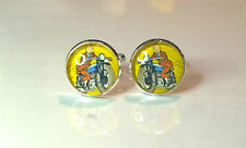 Vintage style Tin Tin  motorbike glass domed cufflinks motorcycle for him father