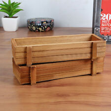 Wood Garden Flower Herb Planter Succulent Pot Rectangle Trough Box Plant Bed #S