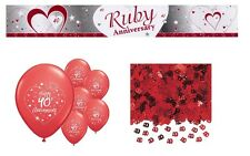 RUBY ANNIVERSARY  PARTY PACK DECORATIONS BANNER BALLOONS CP.R.3)