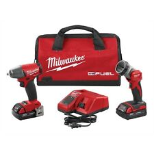 """MILWAUKEE M18 3/8"""" Drive Cordless Impact Wrench with 2 Batteries Charger & Light"""