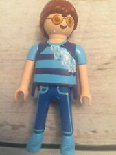 Playmobil Figure Boy Brown Hair Glasses Harry Potter ? Blue Build your Own Lot