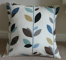 "AUTUMN LEAF DUCK EGG BLUE CUSHION COVER  17 X 17"" HANDMADE"