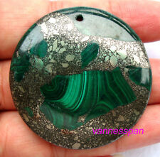 Pyrite And Malachite Coin Pendant 42×7mm