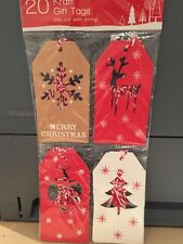 20 DIE CUT   Christmas  Gift Tags - WITH STRINGS