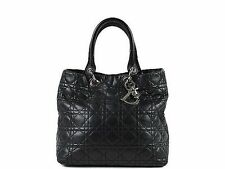Christian Dior Cannage Lady Dior Hand Bag black 100% Auth From JAPAN