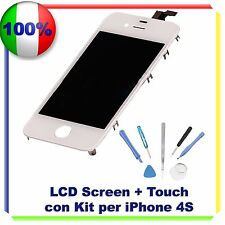 TOUCH SCREEN + LCD RETINA + FRAME + KIT IPHONE 4S BIANCO VETRO DISPLAY SCHERMO