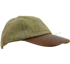 D35 Deluxe Light Derby Tweed / Leather Baseball Cap Hat Fishing / Hunting