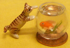 1:12th Dolls House Miniature Accessory Pet Fish Bowl Goldfish & Cat Accessory
