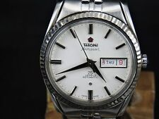 VINTAGE TITONI AIRMASTER 2836-2 25J SS STEEL SWISS ETA DAY DATE AUTO MENS WATCH