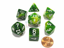 Polyhedral 7-Die Phantom Chessex Dice Set - Green with White Numbers