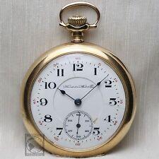 """Gold 1910 Hampden 17 Jewel """"Dueber Grand"""" Mechanical Pocket Watch 12s Antique"""