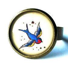 Swallow Tattoo Style Ring ADJUSTABLE Jewellery Bronze Rockabilly Quirky BN