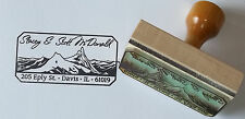 Custom Mountains Address, Ex Libris or bookplate rubber stamp by Amazing Arts
