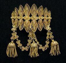 French Empire Early Mid 19c Silver Gilt Filigree Brooch Court of Napoleon