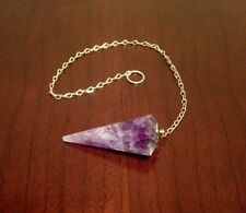 """Amethyst Faceted Pendulum Dowsing Pyramid Healing Pendant 9"""" Chain New Mexico"""