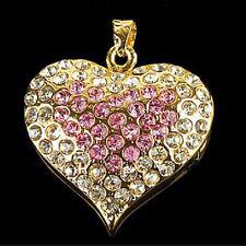 Chiavetta USB 4 GB Strass Cuori Collana Pendente Gioiello Coeur Corazón rosa