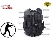 Tactical Vest SWAT Gear Molle Assault Military Black Pistol Holster Ammo Police