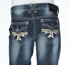 Xtreme Couture AFFLICTION Mens Denim Jeans GEO FLAP CROSS Embroidered 30-40 $79