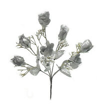 7 Roses ~ SILVER PEWTER ~ Silk Wedding Flowers Bouquets Centerpieces DIY Bridal