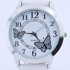 Fashion Crystal Butterfly White Leather White Dial Lady Woman Wrist Watch U16W