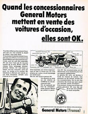 PUBLICITE ADVERTISING 055  1968  GENERAL MOTORS   véhicules d'occasion garantis