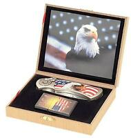 USA EAGLE W FLAG KNIFE w OIL LIGHTER IN DISPLAY BOX KN486 hunting knives new