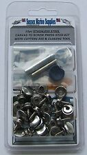 Boat Cover/Canopy Snap Kit fastener stainless Canvas to Screw kit & tools 10pc