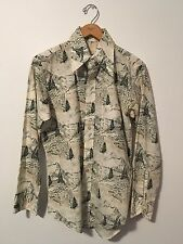 1970s Vintage Into the Woods Mens shirt Cotton Longsleeves Forest Mountain Trees