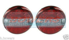 PAIR OF 12V/24V CLEAR LED REAR 140mm HAMBURGER TAIL LAMPS LIGHTS STOP/TAIL/IND