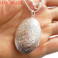 925 Sterling Silver Large Oval Shape Locket Pendant + Chain Necklace Set D0540