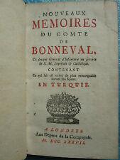 Nouveaux mémoires du Comte de BONNEVAL durant son séjour en Turquie, 1737.