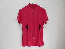 Ronhill Ladies Short Sleeve Half Zip Tee Running Top - Raspberry/Black - Size 8