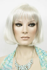 Gray White Grey Medium Short Skin Top Straight Wigs