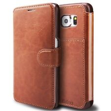 Elegant Samsung Galaxy S6 Edge Premium Dark Brown Leather Wallet