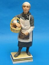 STRIKING SIGNED M.S. ALGORA SPANISH PORCELAIN FIGURINE OLD WOMAN VENDOR No 130