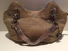 THE SAK Indio Gold Distressed Metalic Straw Crochet Satchel Tote Bucket Handbag