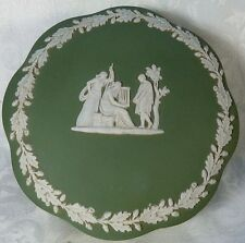 Vintage Wedgwood Jasperware Green Covered Bowl Vanity Cotton Dish Cherub Angels