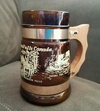 """Vintage Stein from Niagara Falls Brown Glass, Wood Handle 5 1/4"""" Tall, 3"""" Base"""
