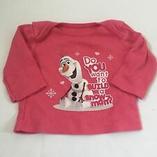 Disney Frozen pink Olaf long sleeved top Baby girls clothes 0-3 Months