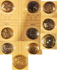 1950s Vintage 10 Metal Button Salesman Sample Cowboy Western Sewing Buttons On